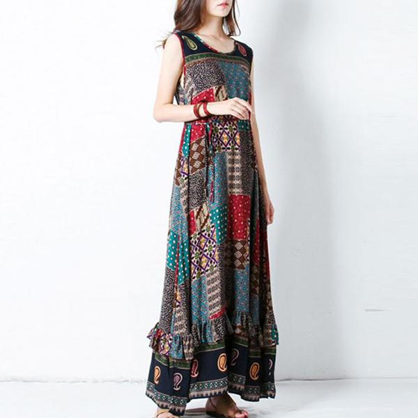 Bohemian Sleeveless Multicolor Long Summer Dress