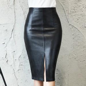 Bodycon PU Leather MIdi Skirts - Black