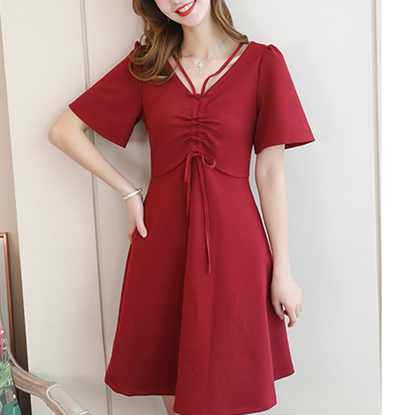 Drawstring Bust Solid Color Mini Dress - Red