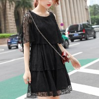 Cold Shoulder Lace Summer Wear Mini Dress - Black