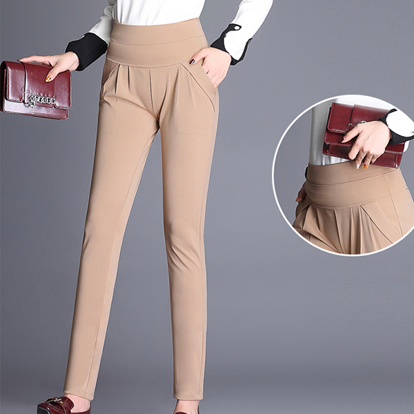 Elastic Stretchable Body Fitted Women Trousers - Khaki
