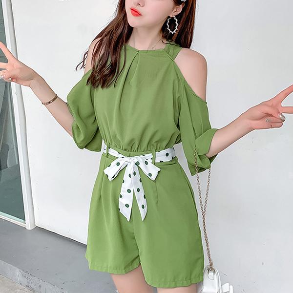 Halter Neck Cold Shoulder Mini Romper Dress - Green