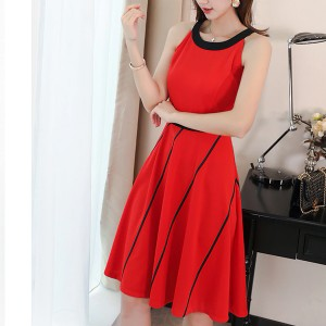 Halter Neck Contrast Pleated Mini Dress - Red