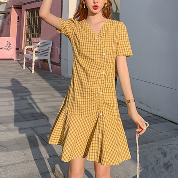 Check Prints Button Up Flared Hem Mini Dress - Yellow