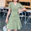 Check Prints Button Up Flared Hem Mini Dress - Green