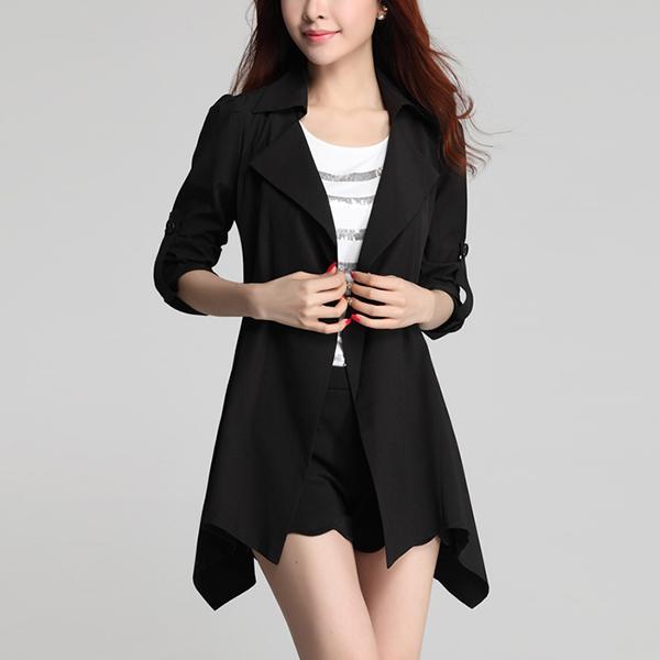 Suit Neck Irregular Outwear Summer Coat - Black