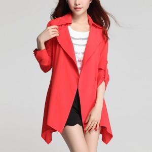 Suit Neck Irregular Outwear Summer Coat - Red