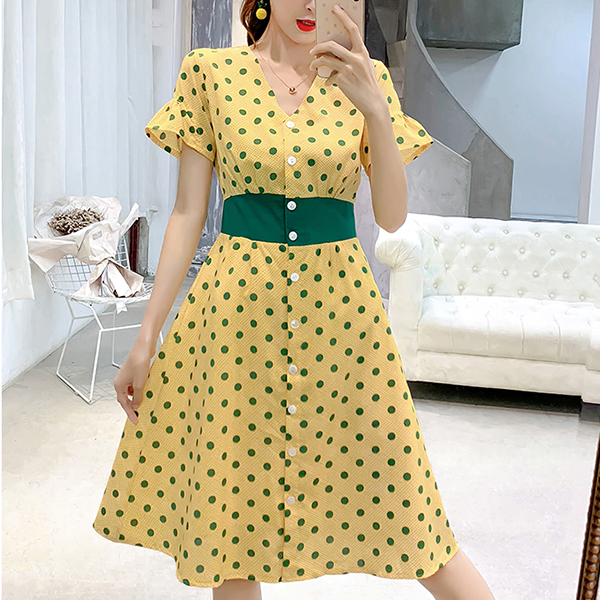 Polka Dot Prints V Neck Summer Dress - Yellow