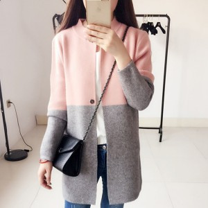 Contrast Stand Neck Outwear Cardigan - Pink