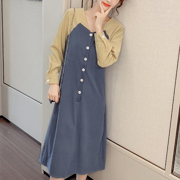 Slash Contrast Button Up Waist Belt Midi Dress - Blue