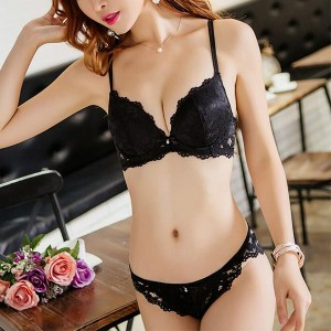 See-through Push-up Lace Panties Women Lingerie Set - Black