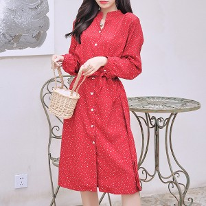 Polka Prints Full Sleeves Button Up Mini Dress - Red