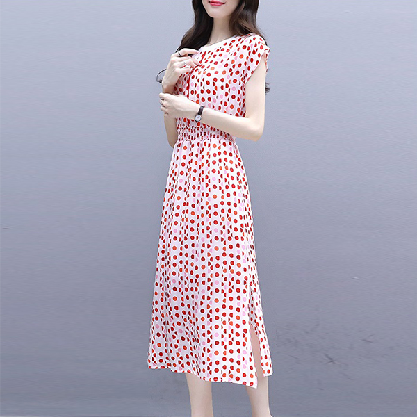 Elastic Waist Polka Dots Split Hem Midi Dress