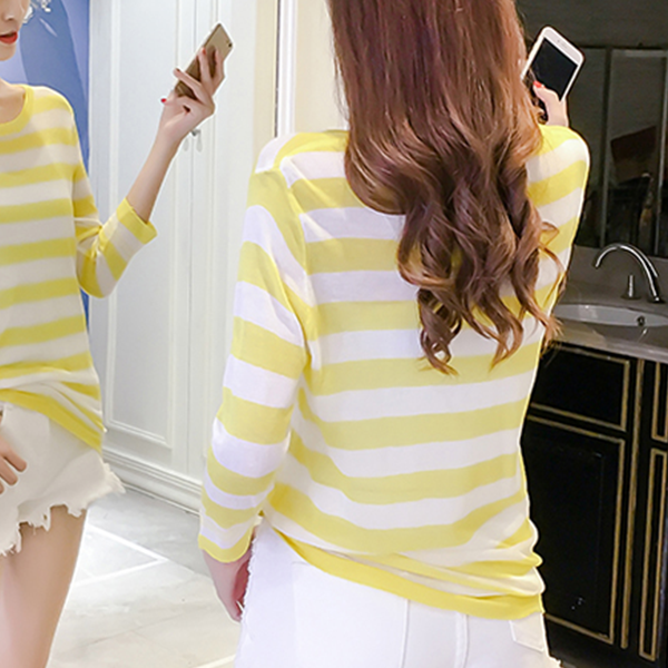 Striped Long Sleeves Knitted Spring Top - Yellow