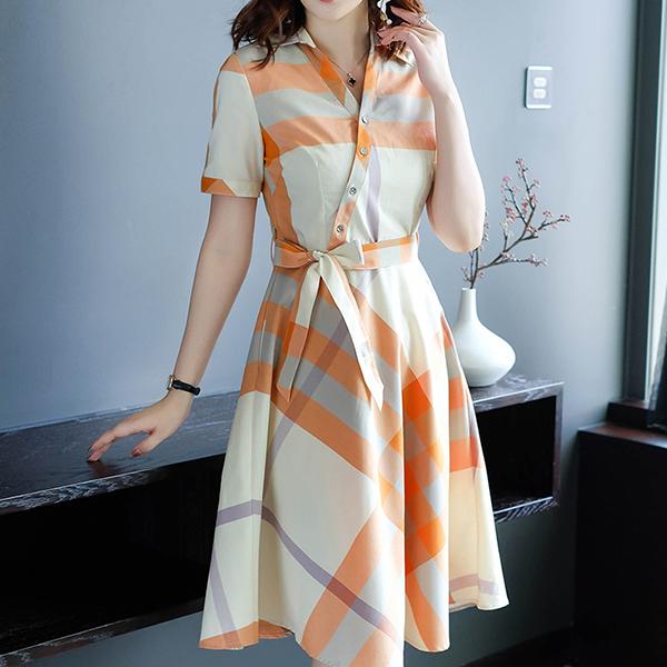 Geometric Prints Cross Button Up Mini Dress - Orange