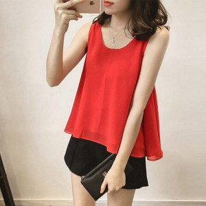Round Neck Chiffon Flared Summer Top - Red