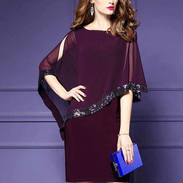 Elegant Shining Spliced Mini Dress - Purple