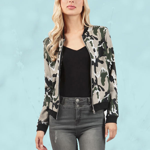 Green Camouflage Contrast Winter Jacket