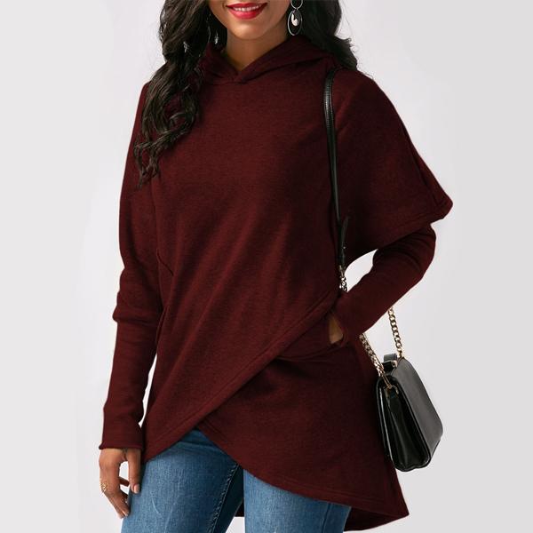 Wrapped Full Sleeves Flared T-Shirt - Burgundy
