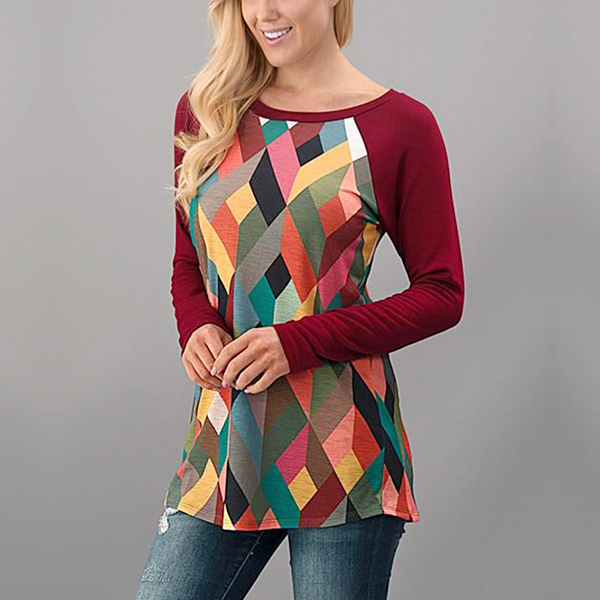 Colorful Boat Neck Burgundy Contrast T-Shirt