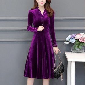 Office / Casual Wearing V Neckline Velvet Dress - Purple