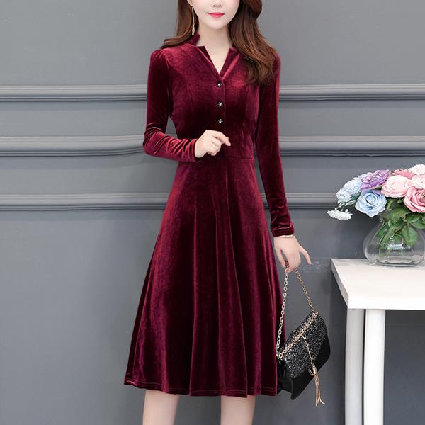 Office Wearing V Neckline Velvet Casual Dress - Red