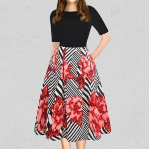 Rose Printed Casual Party Skirt Dress