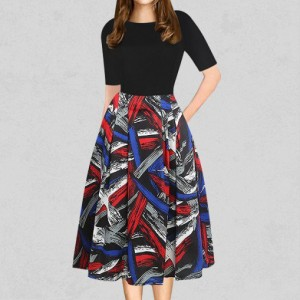 Vintage Multicolor Prints Casual Party Skirt Dress