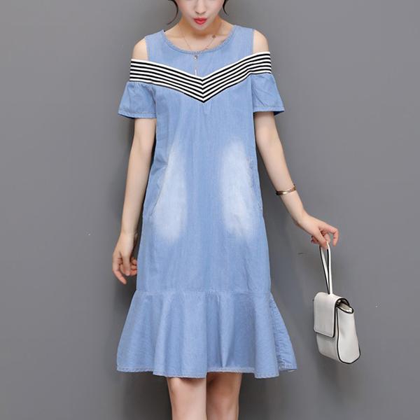 Round Neck Cold Shoulder Mini Dress - Blue