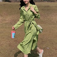 Suit Neck Waist Belt Midi Dress - Green