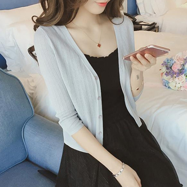 Button Up Summer Wear Thin Cardigan - Grey