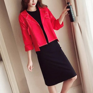 Suit Neck Outwear Coat With Mini Dress - Red