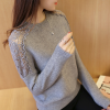Floral Lace Texture Patched Round Neck T-Shirt - Grey