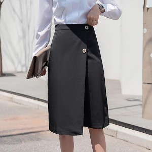 Winter Mid-length High Waist Slim Women Skirts - Black