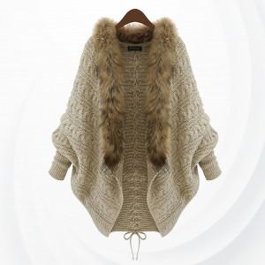Furry Shawl Collar Ribbed Art Cardigan - Khaki