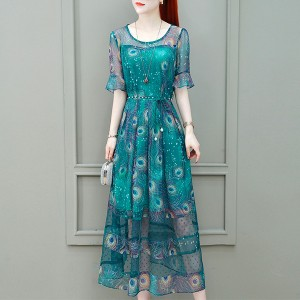 Chiffon Printed Round Neck Dress - Green