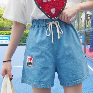 Waist String Elastic Pockets Denim Shorts - Light Blue