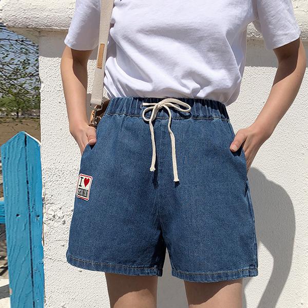 Waist String Elastic Pockets Denim Shorts - Blue