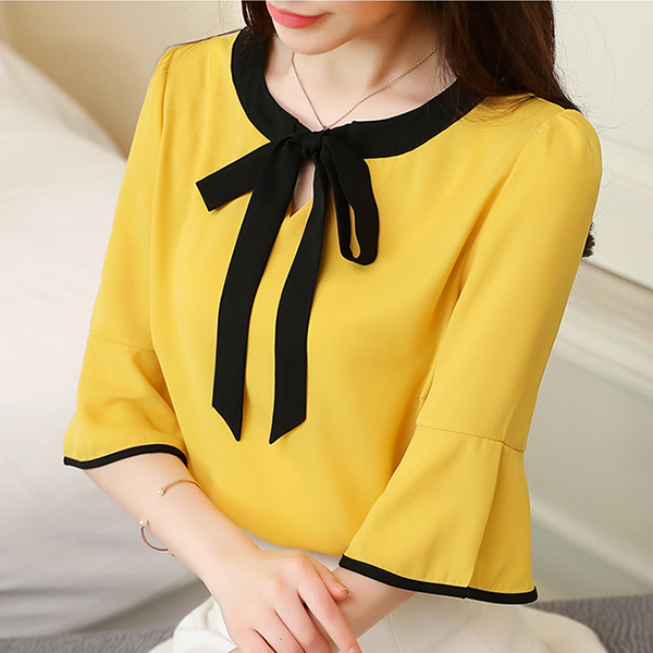 Knotted Neck Plain Thin Fabric Blouse Top - Yellow