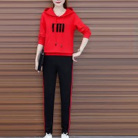 Solid Pattern Long Sleeves Two Piece Sport Hoodie Suit - Red