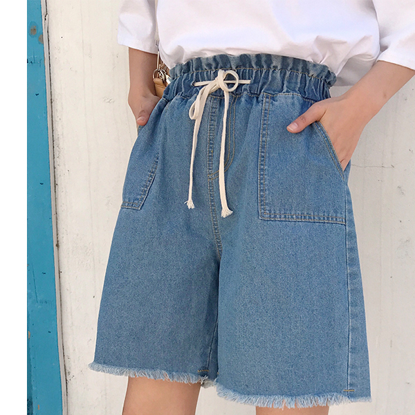String Waist Elastic Furry Short Pants - Blue