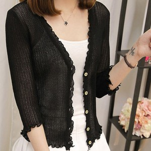Quarter Sleeves Summer Thin Fabric Cardigan - Black