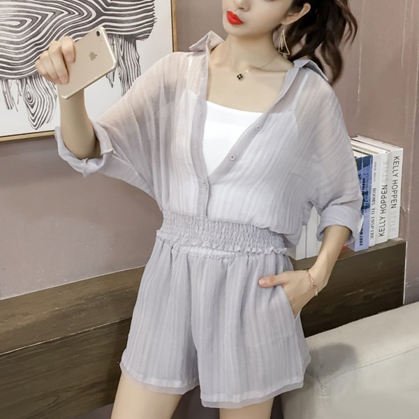 Chiffon Casual Wear Beach Two Pieces Suit - Grey