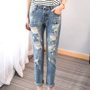 Pearl Decorated Ripped Narrow Bottom Jeans