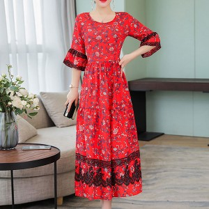 Floral Print Bohemian Flared Sleeves Midi Dress - Red