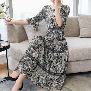Bohemian Print Party Wear Elegant Dress - Multicolor