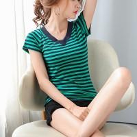 V Neck Striped Prints Casual Wear T-Shirt - Green