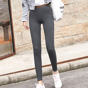 Ribbed Leopard Print Elastic Slim Body Trousers - Dark Grey