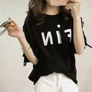 Lace Sleeves Printed Loose Casual T-Shirt - Black