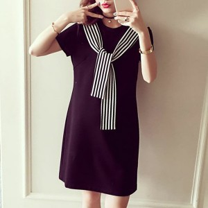 Striped Knotted Neck Round Mini Dress - Black